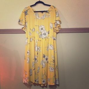 Yellow dress with white flowers